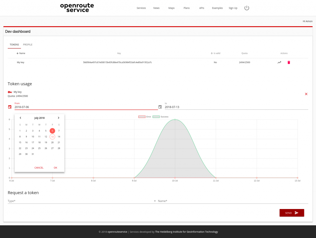 revamped developers dashboard | Openrouteservice